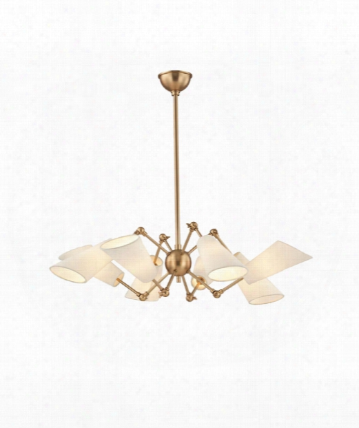 "Buckingham 35"" 8 Light Chandelier In Aged Brass"