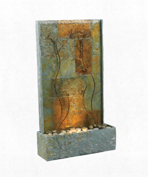 "Copper 19"" 1 Light Fountain In Natural Gray Slate"