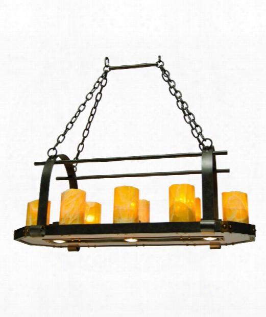 "Cordova 36"" 11 Light Island Light In Natural Iron"