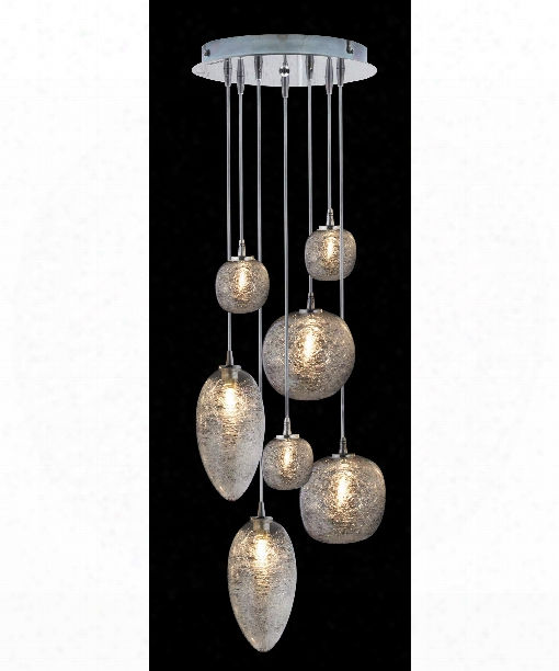 "Cosmos 24"" Led 7 Light Multi Pendant Light In Satin Nickel"