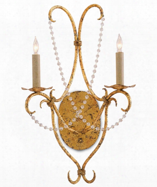 "Crystal 14"" 2 Light Wall Sconce In Gold Leaf"