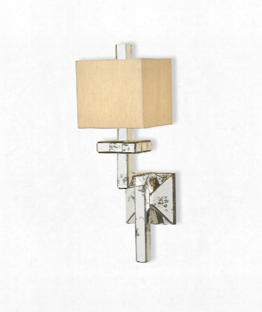"Eclipse 6"" 1 Light Wall Sconce In Granello Silver Leaf-antique Mirror"