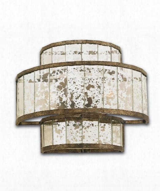 "Fantine 14"" 2 Light Wall Sconce In Pyrite Bronze-raj Mirror"