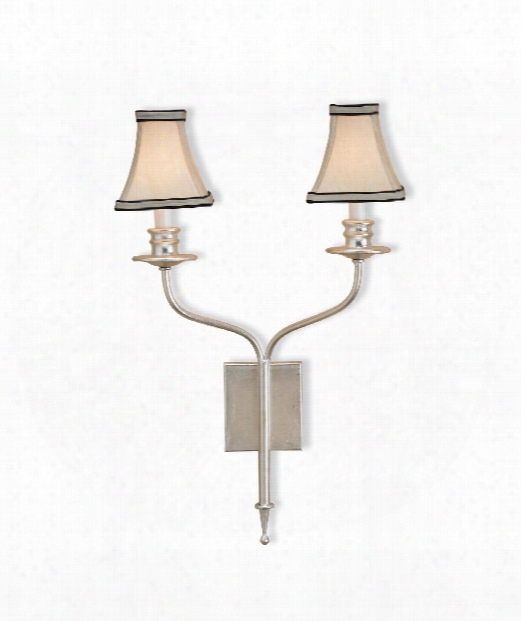"""Highlight 14"""" 2 Light Wall Sconce In Contemporary Silver Leaf"""