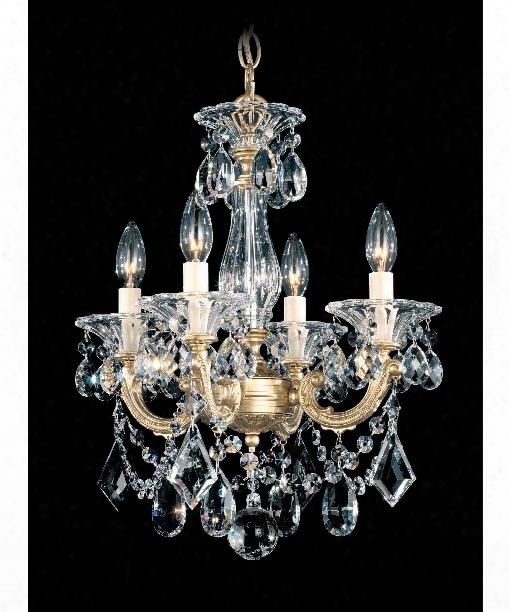 """La Scala 14"""" 4 Light Mini Chandelier In Heirloom Gold"""