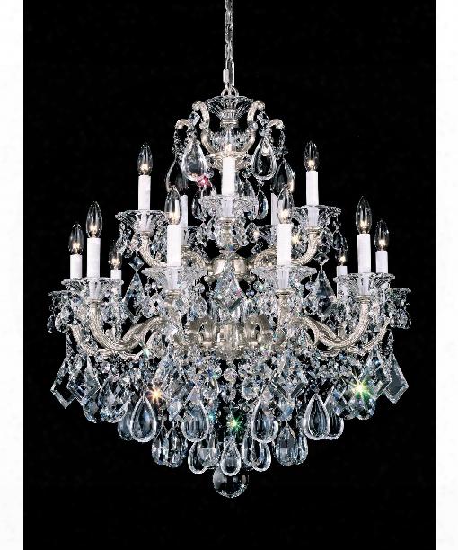 """La Scala 28"""" 15 Light Chandelier In Antique Silver"""