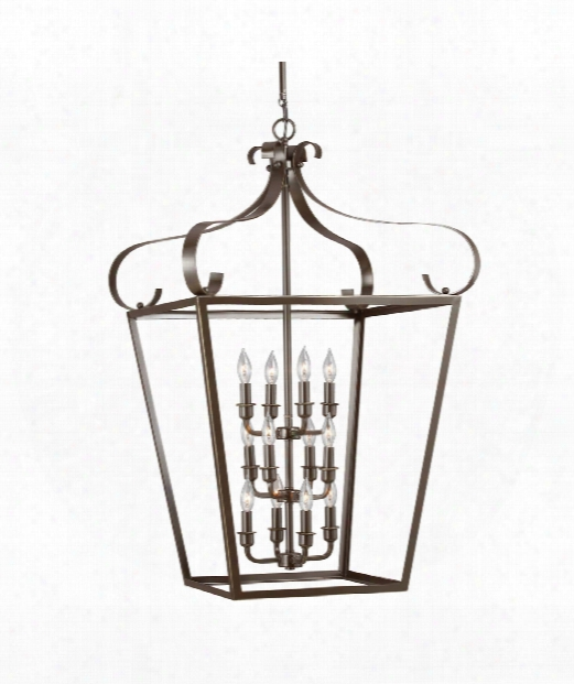 "Lockheart 25"" 12 Light Foyer Pendant In Heirloom Bronze"