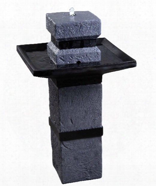 "Monolith 20"" Led 4 Light Outdoor Fountain In Dark Stone"