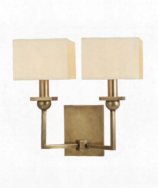 "Morris 13"" 2 Light Wall Sconce In Aged Brass"