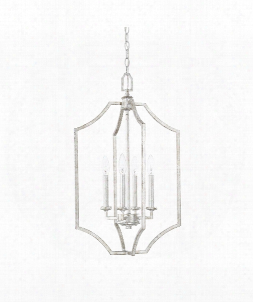 "Oxford 16"" 4 Light Large Pendant In Silver Patina"