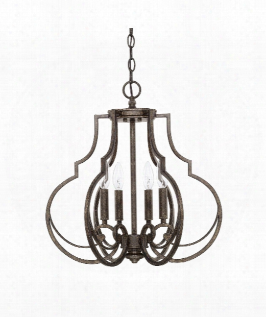 "Sinclaire 18"" 4 Light Large Pendant In Renaissance Brown"