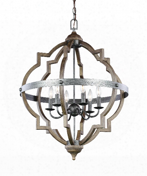 "Socorro 25"" 6 Light Foyer Pendant In Stardust"