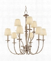 "Jefferson 32"" 9 Light Chandelier in Antique Nickel"