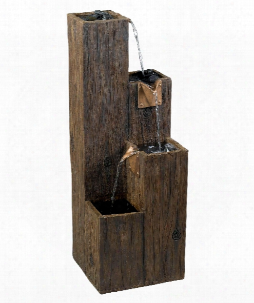 """Timber 12"""" Outdoor Fountain In Wood Grain"""