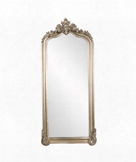 "Tudor 38"" Floor Mirror In Champagne Silver Leaf"
