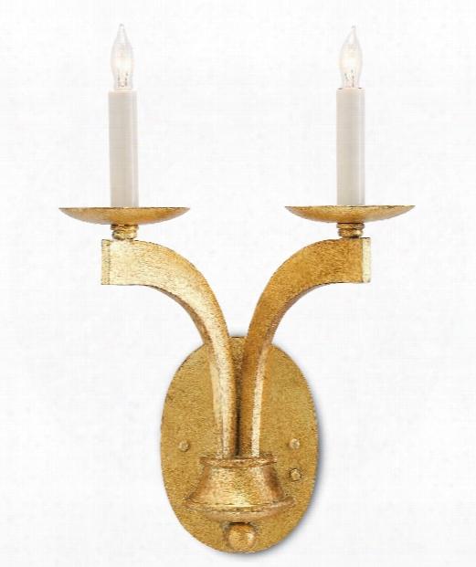 "Venus 11"" 2 Light Wall Sconce In Antique Gold Leaf"