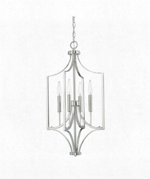 "Wright 15"" 4 Light Large Pendant In Polished Nickel"