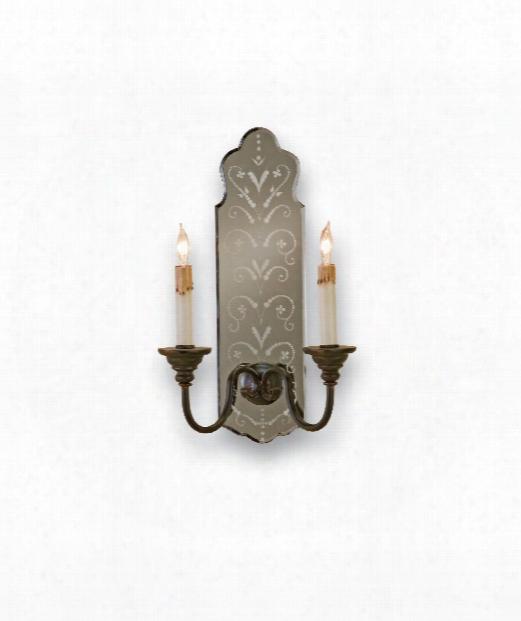 "Antonio 10"" 2 Light Wall Sconce In Venetian Mirror-old Iron"