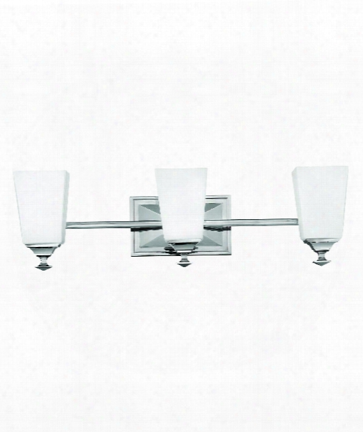 "Baldwin 24"" 3 Light Bath Vanity Light In Polished Nickel"
