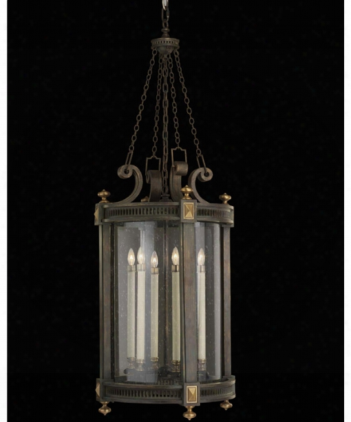 "Beekman Place 17"" 5 Light Outdoor Hanging Lantern In Weathered Woodland Brown"