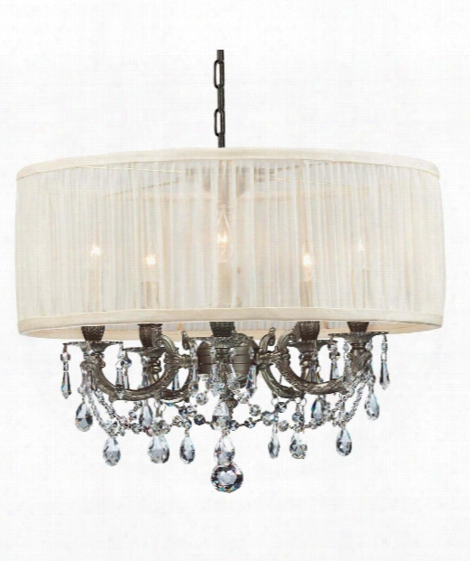 "Brentwood 20"" 5 Light Mini Chandelier In Pewter"