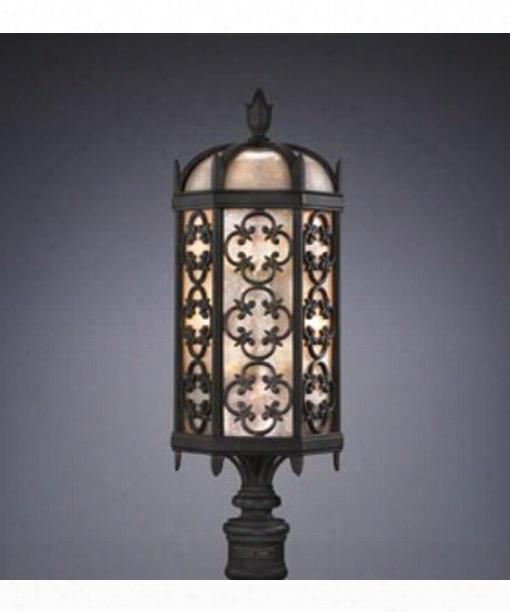 "Costa Del Sol 11"" 3 Light Outdoor Outdoor Post Lamp In Performed Iron"
