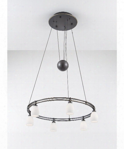 """Counter Balance 22"""" 6 Light Large Pendant In Hand Brushed Old Bronze"""