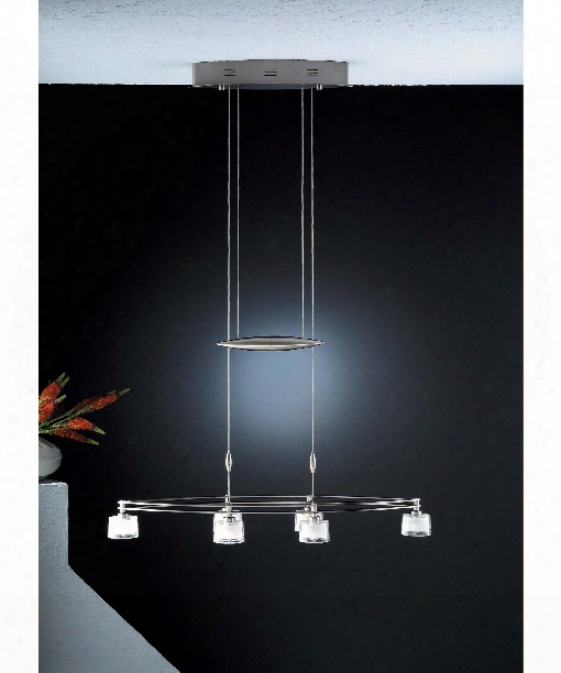 "Counter Balance 33"" 6 Light Multi Pendant Light In Satin Nickel"