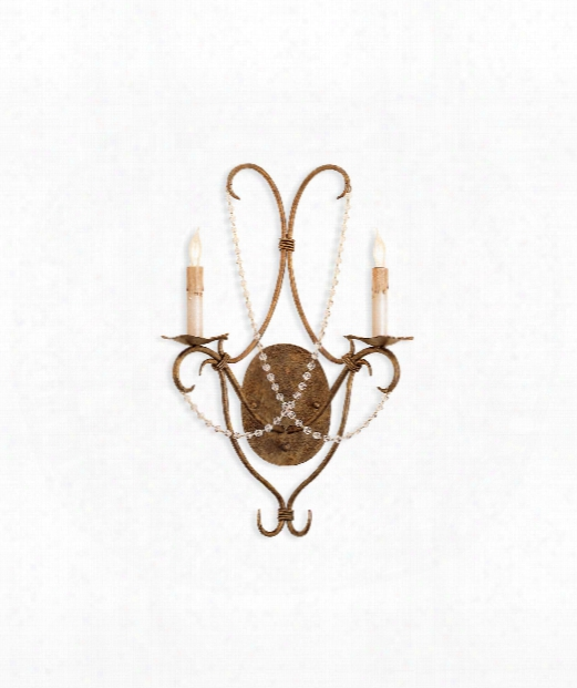 """Crystal Lights 14"""" 2 Light Wall Sconce In Rhine Gold"""