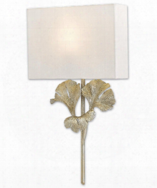 "Gingko 14"" 1 Light Wall Sconce In Distressed Silver Leaf"