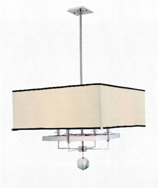 "Gresham Park 24"" 4 Light Large Pendant In Polished Nickel"