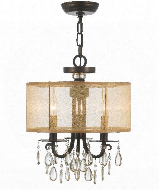 "Hampton 14"" 3 Light Semi Flush Mount In English Bronze"