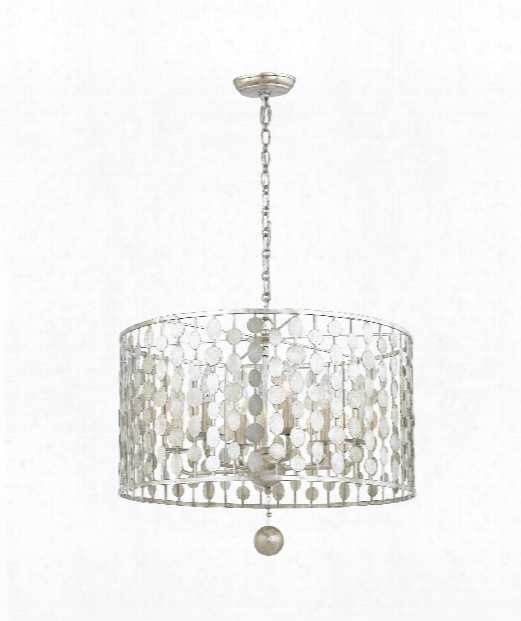 "Layla 24"" 6 Light Large Pendant In Silver Leaf"