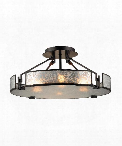 """Lindhurst 21"""" 4 Light Semi Flush Mount In Oil Rubbed Bronze"""