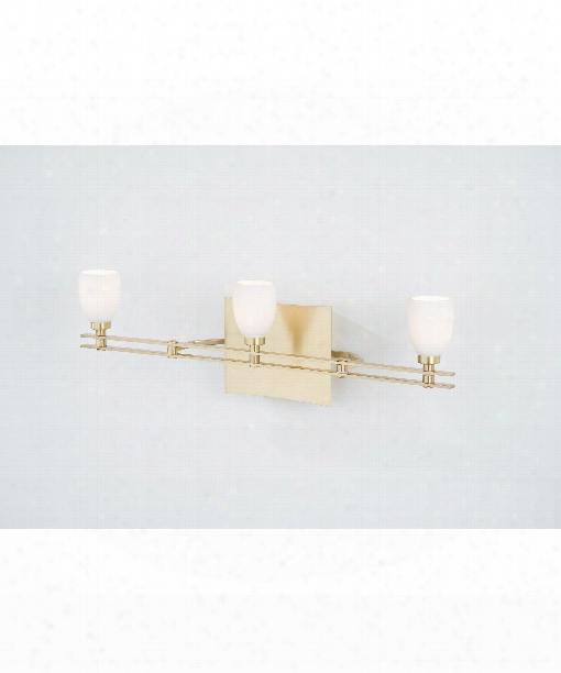 "Ludwig Series 24"" 3 Light Bath Vanity Light In Brushed Brass"