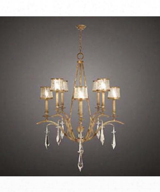 "Monte Carlo 40"" 8 Light Chandelier In Gold Leaf"