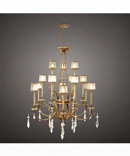 "Monte Carlo 58"" 15 Light Chandelier In Gold Leaf"