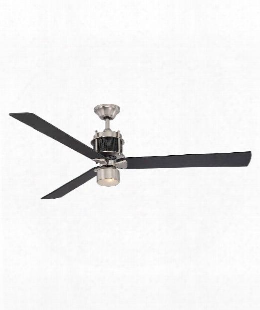 "Muir 56"" 1 Light Ceiling Fan In Satin Nickel-black"