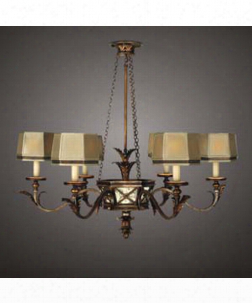 "Newport 43"" 6 Light Chandelier In Burnished Gold"