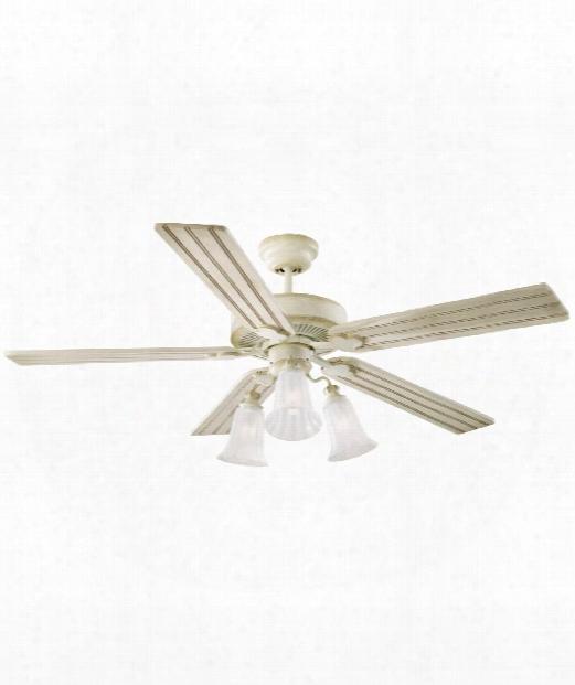 Old School 3 Light Ceiling Fan In Distressed White