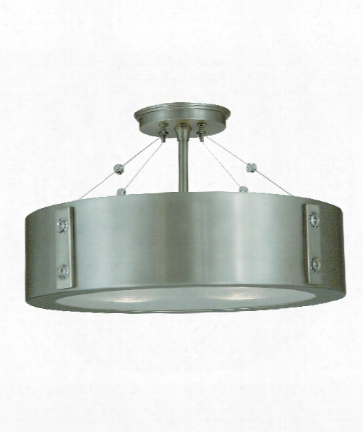 "Oracle 16"" 4 Light Semi Flush Mount In Satin Pewter"