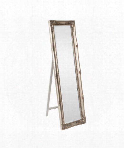 """Queen Ann Standing 18"""" Floor Mirror In Silver"""