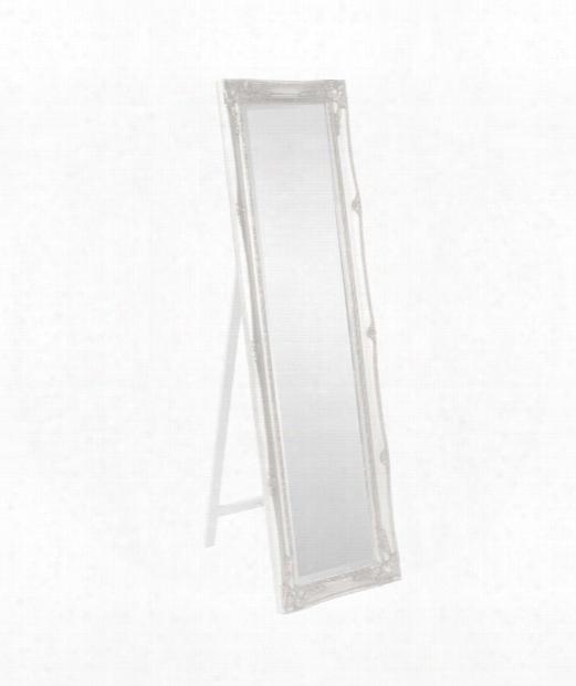 """Queen Ann Standing 18"""" Floor Mirror In White"""