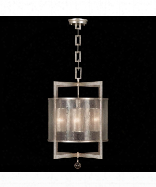 "Singapore Moderne 22"" 4 Light Foyer Pendant In Silver Leaf"