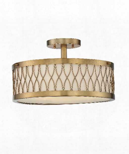 "Spinn 15"" 3 Light Semi Flush Mount In Warm Brass"