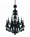 "Hamilton Black 30"" 12 Light Chandelier in Wet Black"
