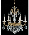 "La Scala Rock Crystal 23"" 6 Light Chandelier in Heirloom Gold"