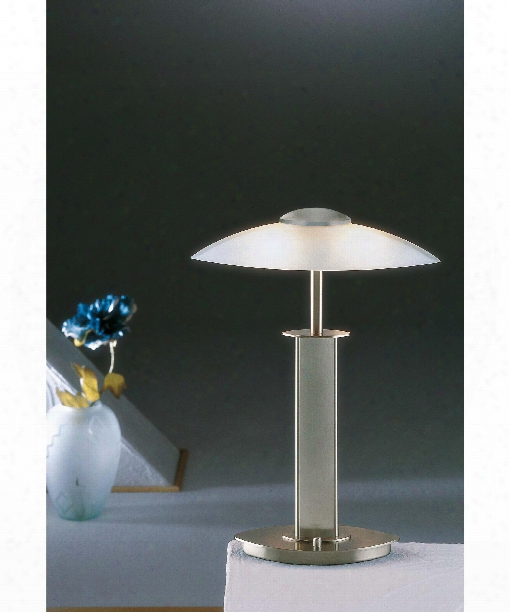 "14"" 2 Light Table Lamp In Satin Nickel"