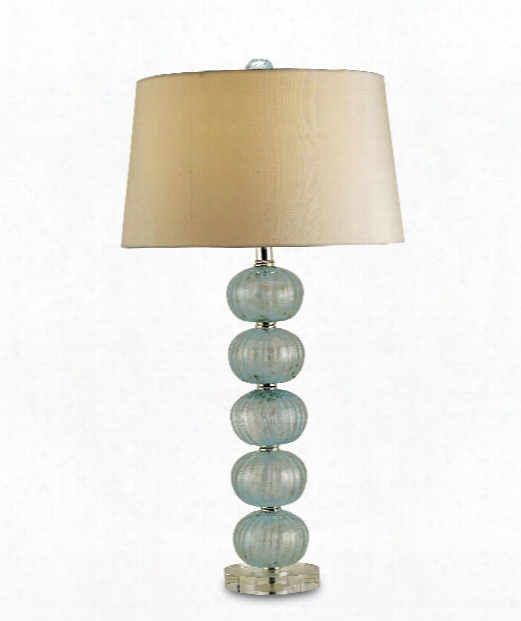 "Asturias 16"" 1 Light Table Lamp In Aqua-gold Blown Glass-clear"