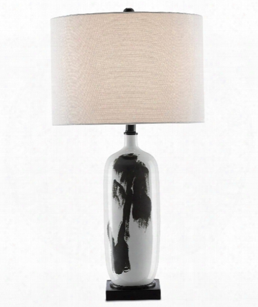 "Baise 15"" 1 Light Table Lamp In White-black"